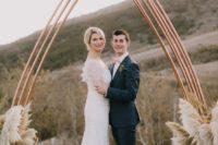 04 copper and pampas grass wedding altar