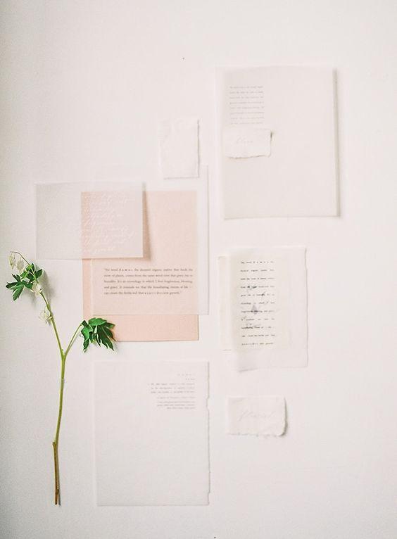 fine art blush and off-white wedding invitations