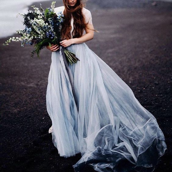 mesmerizing ethereal dove grey wedding dress with a train