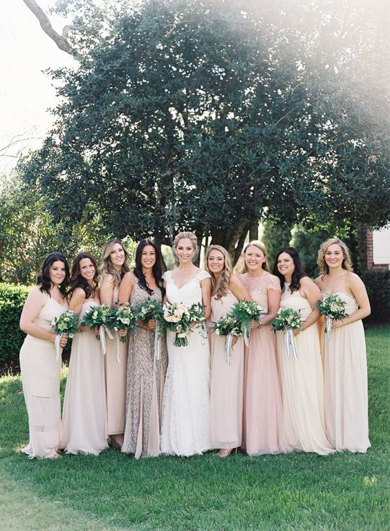 mismatched neutral bridesmaids' looks with pastel options