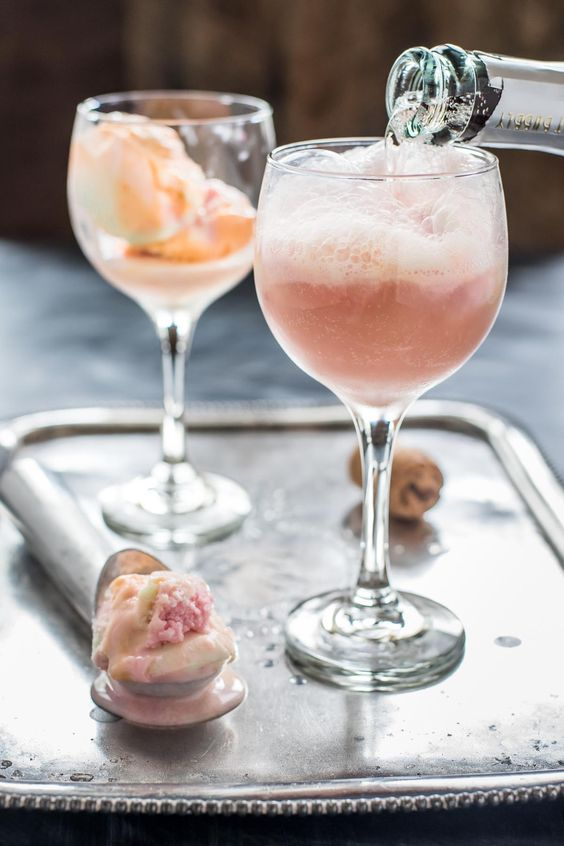 pink champagne sorbet floats