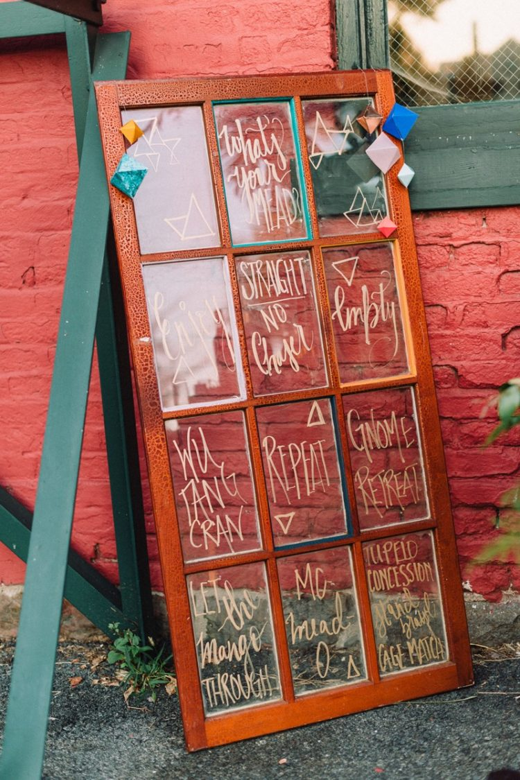 An old French door can easily become a sign, a seating chart or else, just decorate it a little