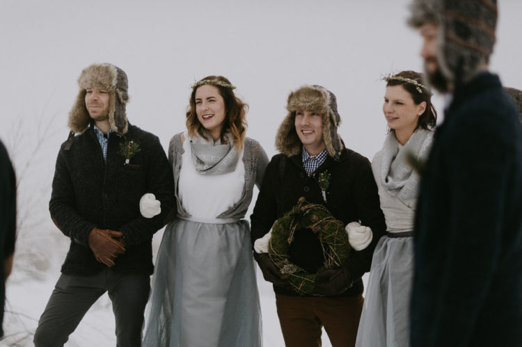 The bridesmaids also wore separates with white tops and grey skirts and cardigans