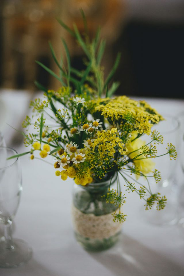 Yellow daisies were included into decor as the bride's name is Daisy and she chose yellow