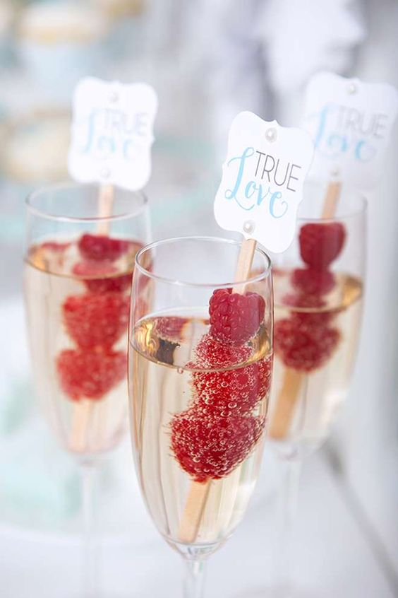 berry skewers for champagne are a great idea for a girls' party