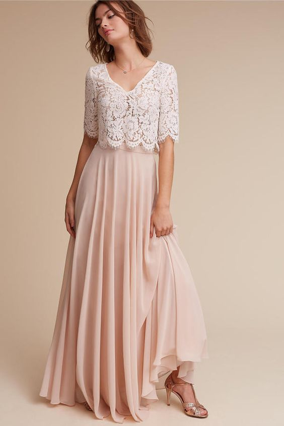 blush chiffon maxi skirt and a lace half-sleeve crop top