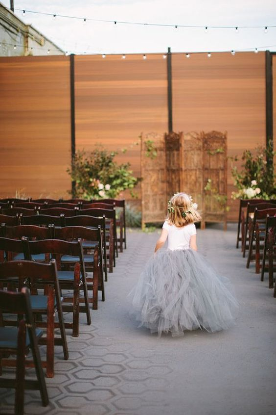 dove grey tulle skirt for the flower girl