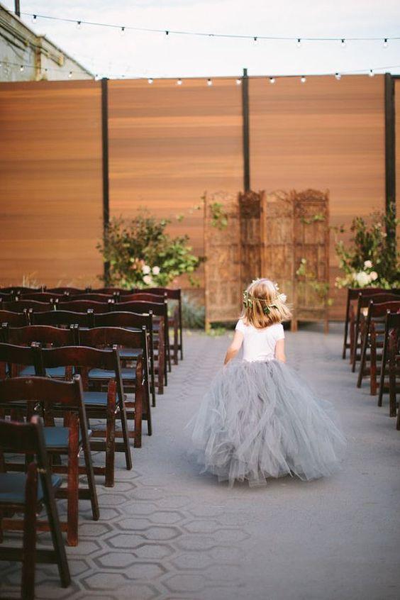 dove grey tulle skirt for the flower girl