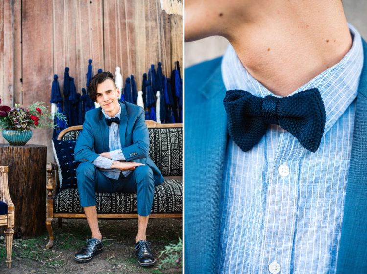 The groom style was sharp, with a bold blue suit, cropped pants, a bow tie and dark blue shoes