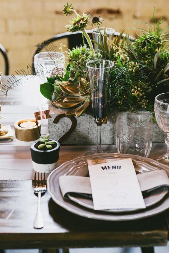 concrete box planter for a lush textural wedding centerpiece