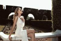 06 ethereal V-neckline wedding dress with beading and a side slit