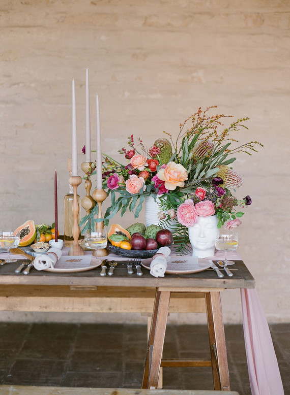 The table was a rustic one, and so were candle sticks, which added a cozy touch to the shoot