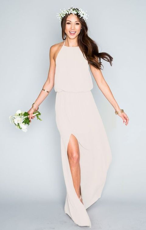halter neckline wedding dress with a side slit