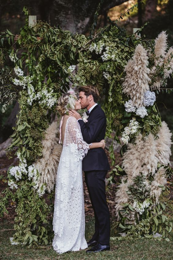 leaf and pampas boho wedding backdrop