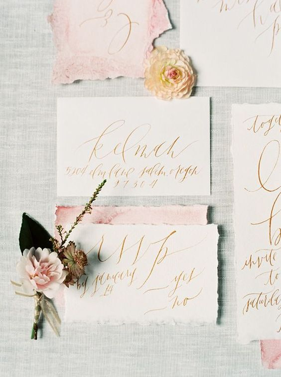 rough edge blush and white wedding stationary