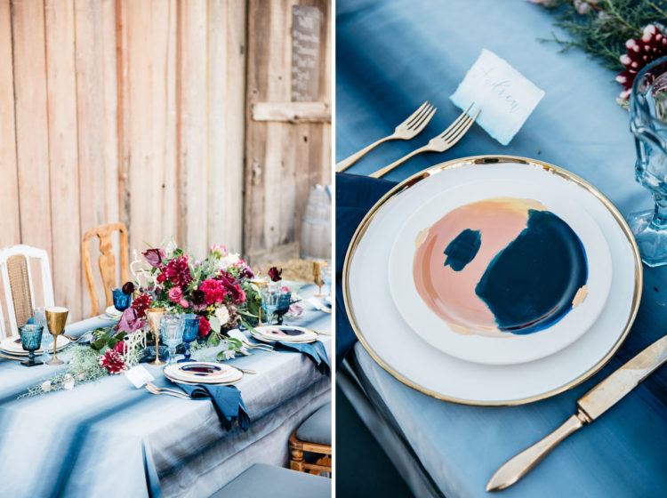 I love the indigo dyed tablecloth and painted dinnerware, looks so cool