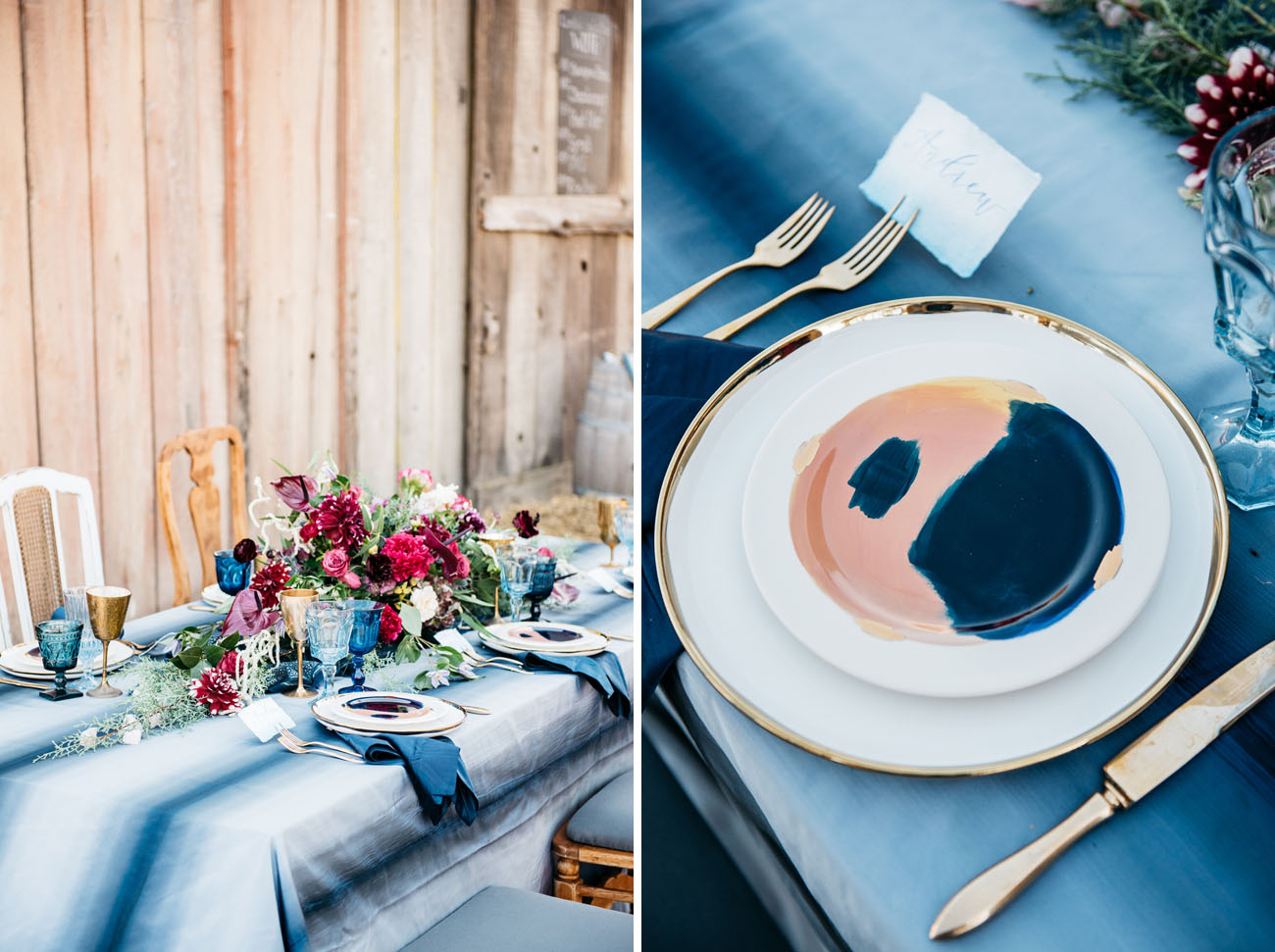 Picture Of I love the indigo dyed tablecloth and painted dinnerware looks so cool & Picture Of I love the indigo dyed tablecloth and painted dinnerware ...