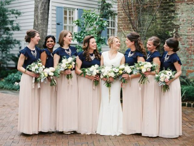 blush maxi skirts and navy tops to keep the wedding color scheme up