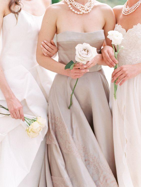 mismatched neutral bridesmaids' dresses