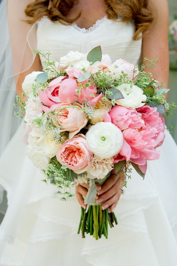peony, garden roses, ranunculus in white, pink, peach and greens