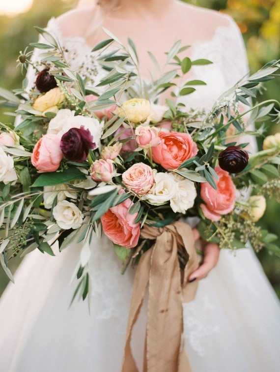 Eucalyptus and olive branches made the bouquet more textural and added a European touch