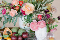 09 Florals on the table and even food kept the shoot modern yet a bit rustic