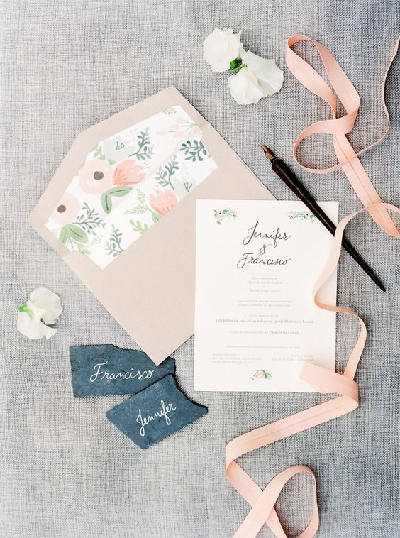 blush envelopes with floral lining