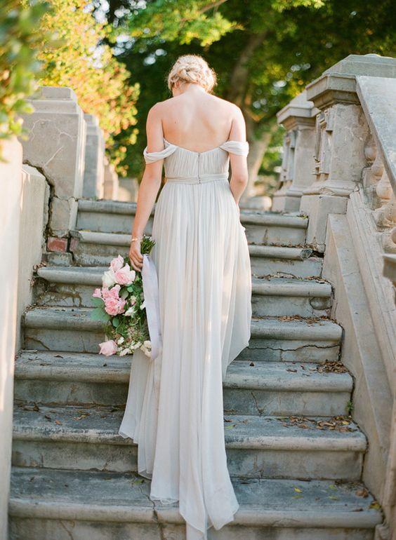 ethereal dove gret off the shoulder bridal gown
