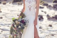 09 illusion neckline lace wedding dress with a side slit