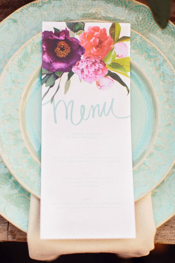 bold floral wedding stationary is ideal for garden weddings
