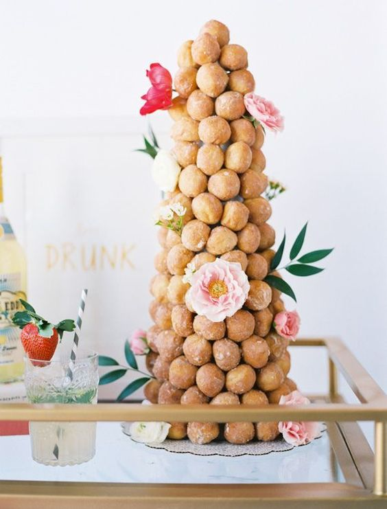 croquemboche decorated with peonies is an amazing alternative to a cake