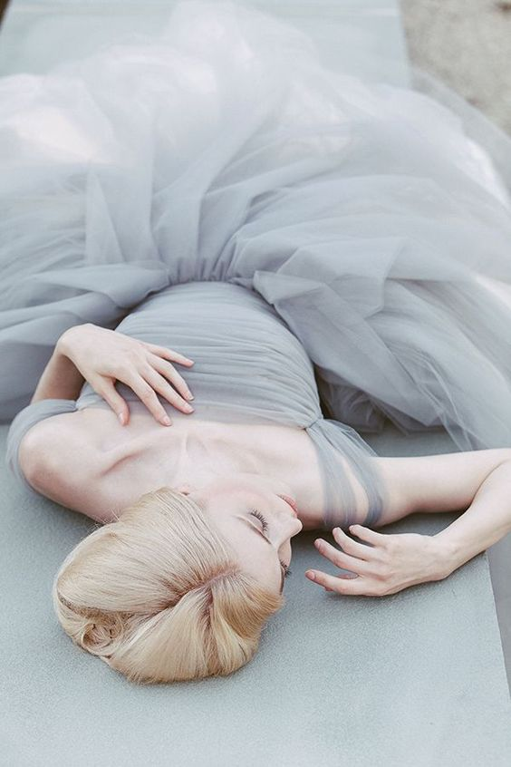 dove grey off the shoulder tulle wedding dress