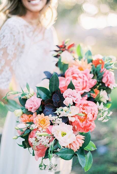 lush pink peony bouquet for a garden bride