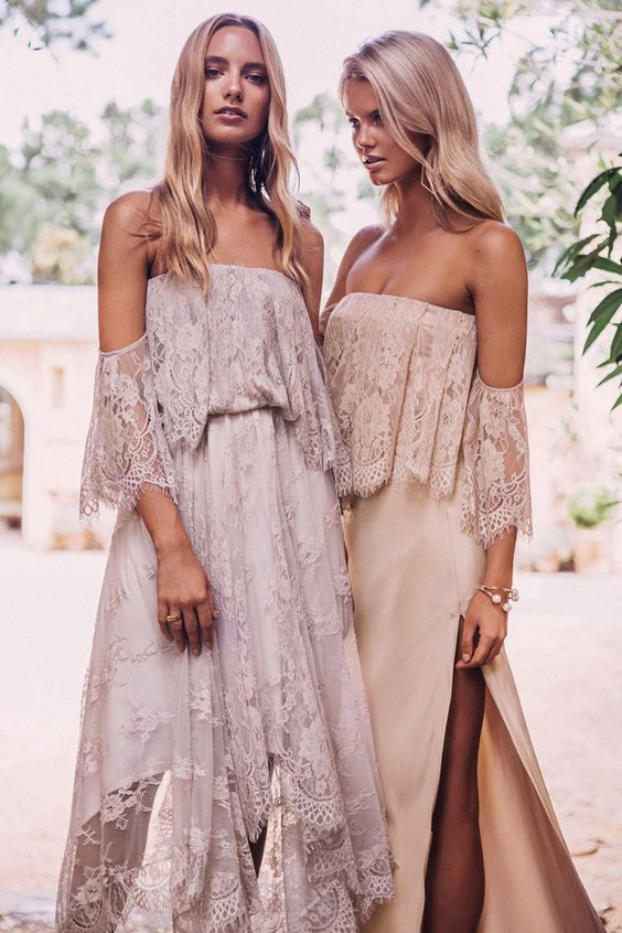 off the shoulder lace boho bridsmaids' dresses