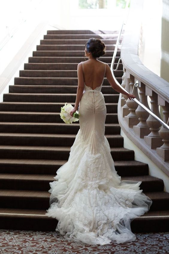 sexy backless fitting wedding dress with a train is a gorgeous choice