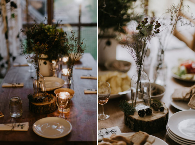 The table decor was also forest-inspired and mountain-inspired