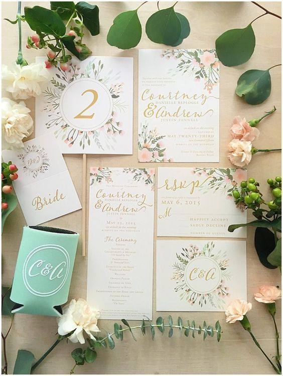 eye-popping invitations with greenery and flowers