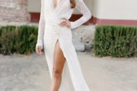 11 sexy high slit wedding dress with a deep V-neckline and long sleeves