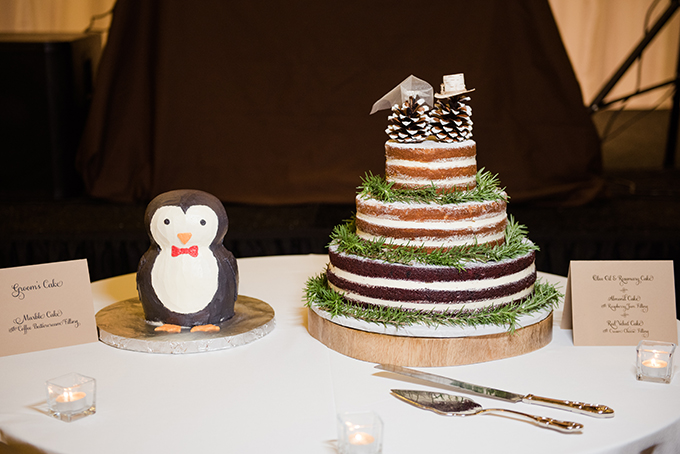 The cake wwas also a rusitc one, a naked cake with pinecones and evergreens
