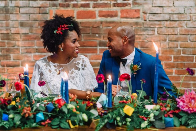 The groom rocked a bold blue suit with a black bow tie, so chic
