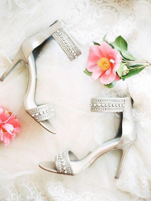 neutralc-olored embellished wedding heels