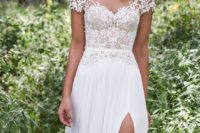 12 off the shoulder lace wedding dress with a side slit and a sash