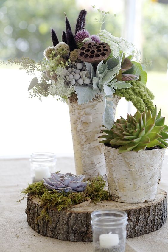 a wood slice with moss, succlents and two bark-wrapped vases