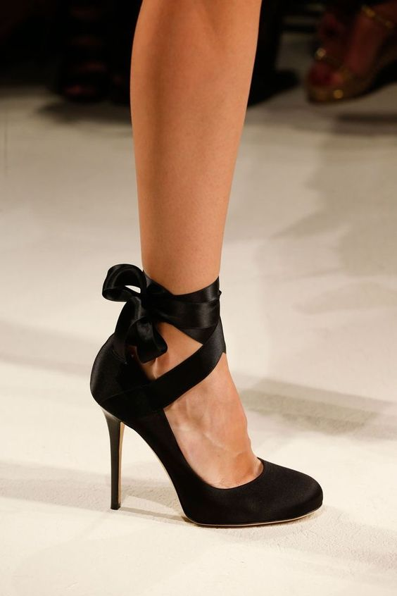 ankle strap and bow black shoes are an elegant choice for a bride or bridesmaids