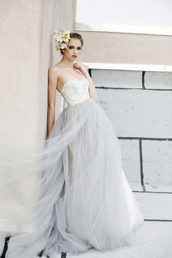 cream lace bodice and a dove grey tulle skirt