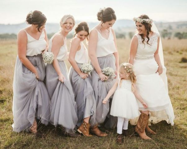 grey tulle skirts and white spaghetti strap tops
