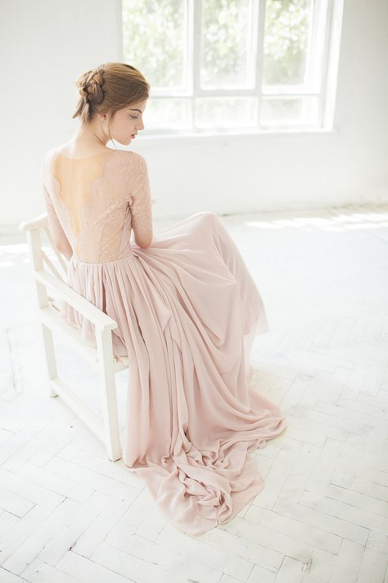 blush lace bodice with a V-back and a flowy skirt