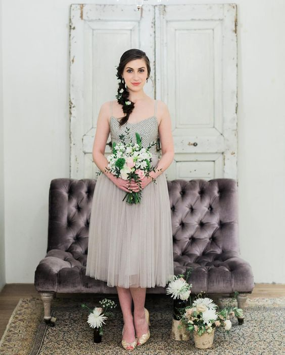 dove grey midi bridesmaid's dress with spaghetti straps