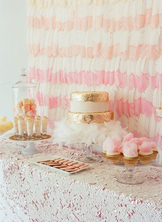 striped feather wedding backdrop for the dessert table