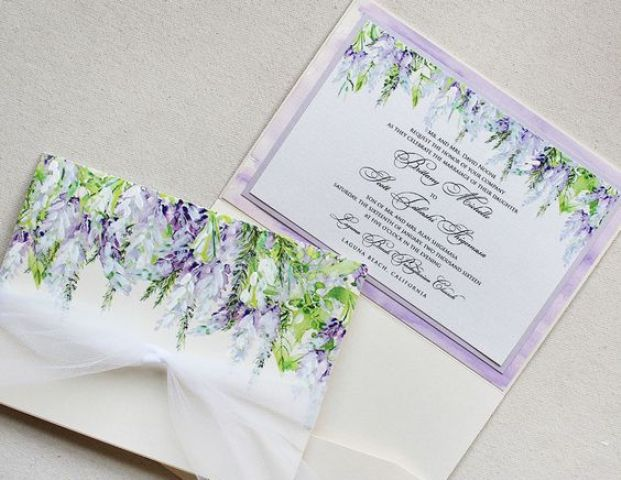 wisteria wedding stationary with tulle ribbon